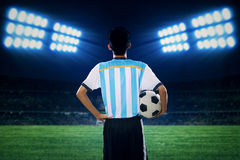 Argentine player holding a soccer ball Royalty Free Stock Photos