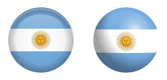 Argentine Republic flag under 3d dome button and on glossy sphere / ball.  vector illustration