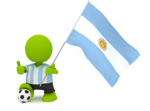 Argentine Soccer. Illustration of a man in an Argentine soccer jersey with a ball holding a flag. Part of my cute green man series Stock Photography