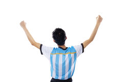Argentine soccer player celebrate victory Royalty Free Stock Photos