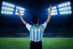 Argentine soccer player celebrate winning Royalty Free Stock Images