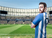 Argentine soccer player in the stadium Royalty Free Stock Photo