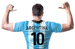 Argentine soccer player on white background Stock Photos