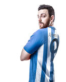 Argentine soccer player on white background Royalty Free Stock Photos