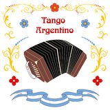 Argentine tango bandoneon poster Royalty Free Stock Images