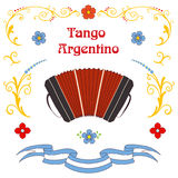 Argentine tango bandoneon poster Royalty Free Stock Photos