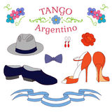 Argentine tango dancing shoes poster Stock Photos