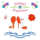 Argentine tango dancing shoes poster. Hand drawn vector illustration with argentine tango design elements - women dancing shoes, earrings, flower, traditional Stock Photo