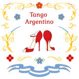 Argentine tango dancing shoes poster. Hand drawn vector illustration with argentine tango design elements - women dancing shoes, text, traditional Buenos Aires Stock Photos