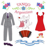 Argentine tango design elements Royalty Free Stock Images