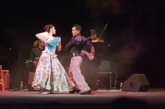Argentine Tango. DNIPRO, UKRAINE - DECEMBER 7, 2016: The dancers Janina Quinones and Emilio Cornejo  Argentina at Stars of Argentine Tango show Royalty Free Stock Image