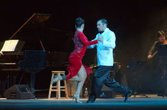 Argentine Tango. DNIPRO, UKRAINE - DECEMBER 7, 2016: The dancers Janina Quinones and Neri Piliu Argentina at Stars of Argentine Tango show Royalty Free Stock Photo