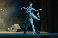 Argentine Tango. DNIPRO, UKRAINE - DECEMBER 7, 2016: The dancers Janina Quinones and Neri Piliu Argentina at Stars of Argentine Tango show Royalty Free Stock Photography