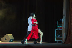 Argentine Tango. DNIPRO, UKRAINE - DECEMBER 7, 2016: The dancers Janina Quinones and Neri Piliu Argentina at Stars of Argentine Tango show Stock Photography
