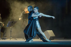Argentine Tango. DNIPRO, UKRAINE - DECEMBER 7, 2016: The dancers Janina Quinones and Neri Piliu Argentina at Stars of Argentine Tango show Royalty Free Stock Image