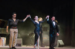 Argentine Tango. DNIPRO, UKRAINE - DECEMBER 7, 2016: The dancers Janina Quinones, Neri Piliu and Emilio Cornejo  Argentina at Stars of Argentine Tango show Royalty Free Stock Photography