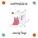 Argentine tango funny cats poster Royalty Free Stock Photos