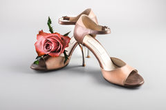 Argentine tango shoes with a rose Stock Photos