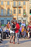 Argentine tango in the streets of Turin Stock Image