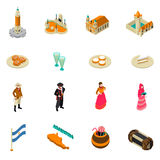Argentine Touristic Isometric Symbols Icons Collection. Argentina for travelers isometric symbols collection with national cuisine bitter alcohol drink and Royalty Free Stock Photo
