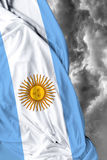 Argentine waving flag on bad day Stock Images
