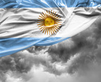 Argentine waving flag on bad day Stock Photography