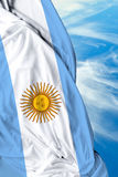 Argentine waving flag on beautiful day Stock Images