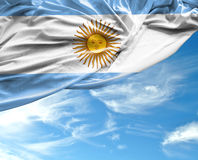 Argentine waving flag on beautiful day.  Royalty Free Stock Photos