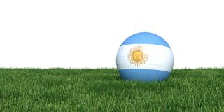 Argentinean Argentina flag soccer ball lying in grass world cup. 2018, isolated on white background. 3D Rendering, Illustration Stock Image