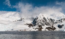 Argentinean Antarctic base Almirante Brown, Paradise Harbor, Antarctic Peninsula royalty free stock photos