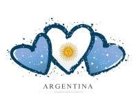 Argentinean flagga i form av tre hjärtor white f?r vektor f?r bakgrundsillustrationhaj stock illustrationer