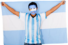 Argentinean man holding flag Stock Photo