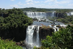 Argentinean side of the Iguassu Falls. Partial view from the Argentinean side of the Iguassu Falls in a sunny day of summer Royalty Free Stock Photo