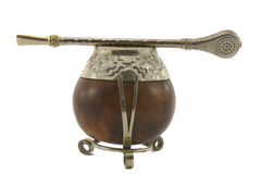 Argentinean tea, Yerba MatA�,. Calabash cup using a metal or wood decorative straw & filter called la bombilla Stock Images
