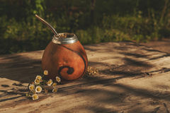 Argentinean yerba mate drink in Calabash with Bombilla Stock Photos