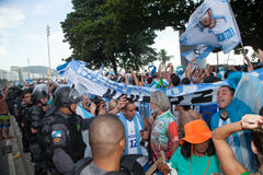 Argentines Celebrating in Copacabana Beach Royalty Free Stock Photography