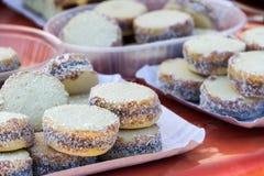 Argentinië alfajores van maïszetmeel met dulce DE leche stock foto's