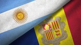 Argentinië en Andorra twee vlaggen textieldoek, stoffentextuur vector illustratie