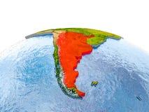 Argentinië op model van Aarde Stock Afbeelding