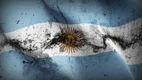 Argentina grunge dirty flag waving on wind. Argentinian background fullscreen grease flag blowing on wind. Realistic filth fabric texture on windy day Stock Photography