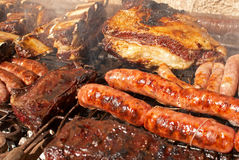 Argentinian barbecue. Typical argentinian barbecue with  several types of meat Royalty Free Stock Photography