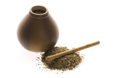 Argentinian calabase with yerba mate Royalty Free Stock Images