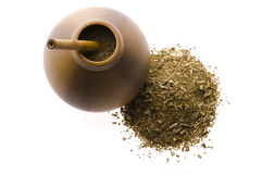 Argentinian calabase with yerba mate. Argentinian calabash with yerba mate Stock Photos