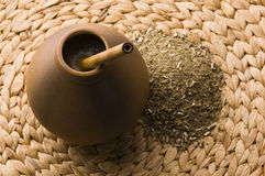 Argentinian calabase with yerba mate Royalty Free Stock Photo