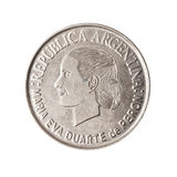 Argentinian coin with face of Evita. Royalty Free Stock Photography