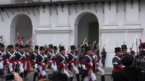 Argentinian Colonial Army marching in the reenactment and commemoration of the 200 years of Argentina independence day. stock footage