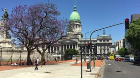 Argentinian Congress building street view stock video footage