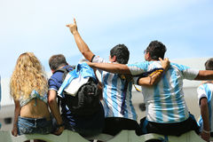 Argentinian fans on Miami Beach. Watching the World Cup 2014 games Stock Photography