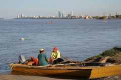 Argentinian fisherman on Parana river Stock Photos