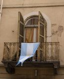 Argentinian flag. In the window royalty free stock images